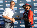 ICC and Bermuda Cricket director Neil Speight presents the WCL Division 7 trophy to Hisham Mirza, Kuwait v Nigeria , World Cricket League Division 7 Final, Gaborone, May 8, 2011