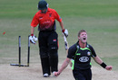 Stuart Meaker celebrates the wicket that sealed Surrey's victory