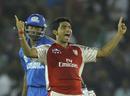Bhargav Bhatt knows victory is close after Kieron Pollard is dismissed, Kings XI Punjab v Mumbai Indians, IPL 2011, Mohali, May 10, 2011