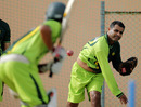 Waqar Younis gives throw-downs as Pakistan get ready for the West Indies Tests, Georgetown, May 10, 2011