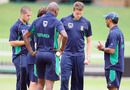 Vincent Barnes, South Africa's assistant coach, talks to the fast bowlers during nets, Durban, January 11, 2011