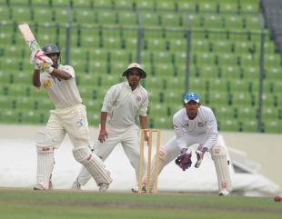 Naeem Islam plays one through the on side, Rajshahi v Dhaka, NCL final, 2nd day, Mirpur