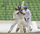 Dhiman Ghosh strokes one through the off side, Rajshahi v Dhaka, NCL final, 2nd day, Mirpur