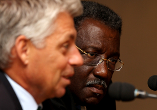 Dave Richardson, ICC's general manager of cricket, and Clive Lloyd, Chairman of the Cricket Committee, speak to the media at Lord's
