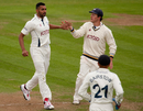 Ajmal Shahzad celebrates an early Hampshire wicket on the second morning at Headingley