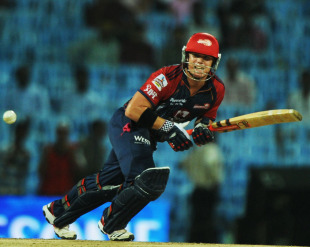 David Warner works one off the pads, Chennai Super Kings v Delhi Daredevils, IPL 2011, Chennai, May 12, 2011