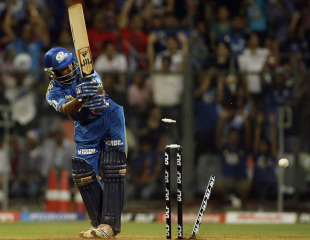 Ambati Rayudu was bowled as Deccan Chargers picked up regular wickets and defended 135 to upset Mumbai Indians