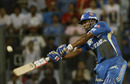 Kieron Pollard flays one through the off side, Mumbai Indians v Deccan Chargers, IPL 2011, Mumbai, May 14, 2011