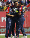 Irfan Pathan is congratulated on dismissing Paul Valthaty