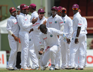 Darren Sammy is ecstatic after snagging Umar Akmal, West Indies v Pakistan, 1st Test, Providence, 4th day, May 15, 2011