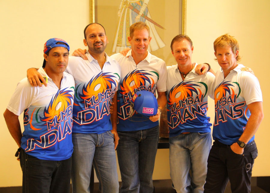 The Mumbai Indians coaches at a promotional event