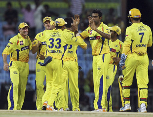 Chennai's bowlers kept picking up wickets at regular intervals, Chennai Super Kings v Kochi Tuskers Kerala, IPL 2011, Chennai, May 18, 2011