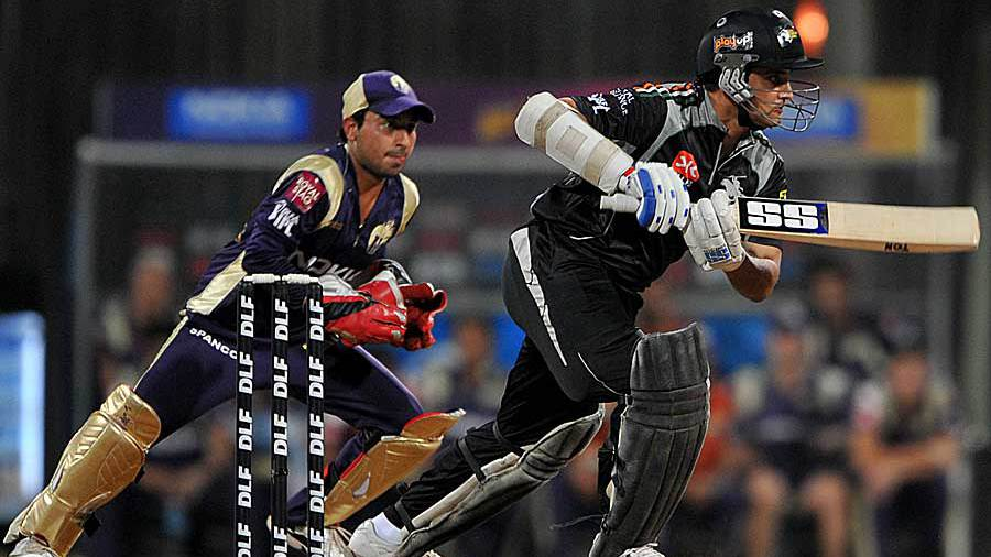 Sourav Ganguly pushes one into the off side