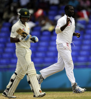 Darren Sammy removes Mohammad Hafeez, West Indies v Pakistan, 2nd Test, St Kitts, 3rd day, May 22, 2011