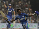 Ambati Rayudu celebrates after winning the match with a last-ball six, Kolkata Knight Riders v Mumbai Indians, IPL 2011, May 22, 2011