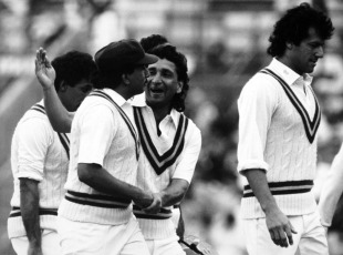 Imran Khan leads the Pakistan team out of the the field, England v Pakistan, 5th Test, The Oval, 4th day, August 10, 1987