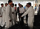The Afghanistan players and coach Rashid Latif arrive for their series against Pakistan A, Islamabad, May 23, 2011
