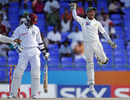 Mohammad Salman is thrilled after pouching Marlon Samuels, West Indies v Pakistan, 2nd Test, St Kitts, 4th day, May 23, 2011