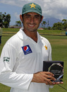 Saeed Ajmal poses with the Man-of-the-Series award, West Indies v Pakistan, 2nd Test, St Kitts, 5th day, May 24, 2011