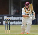 Alex Wakely drives during his 98 against Leicestershire