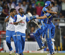 James Franklin is mobbed by his team-mates after Mumbai's win, Mumbai v Kolkata, Eliminator, IPL 2011, Mumbai, May 25, 2011