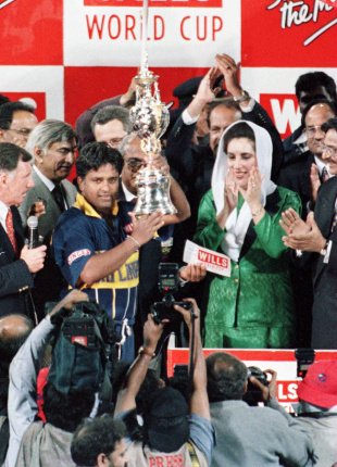 Arjuna Ranatunga lifts the World Cup, Australia v Sri Lanka, Wills World Cup final, Lahore, March 17, 1996