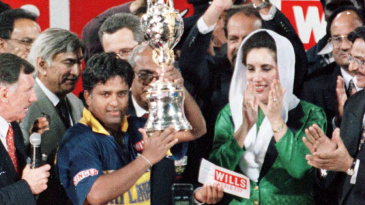 Arjuna Ranatunga lifts the World Cup