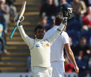 Prasanna Jayawardene celebrates his century against England, England v Sri Lanka, 1st Test, Cardiff, 2nd day, May 27 2011
