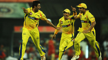 R Ashwin is about to be mobbed after dismissing Chris Gayle