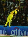 Dwayne Bravo's spectacular attempt to catch the ball is in vain