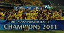 Chennai pose with their second IPL trophy, Chennai v Bangalore, IPL 2011, Final, Chennai, May 28, 2011