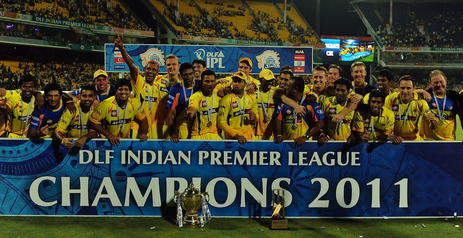 Chennai pose with their second IPL trophy