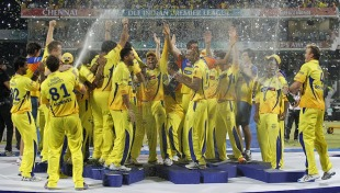 Chennai's players douse each other after the presentation Chennai v Bangalore, IPL 2011, Final, Chennai, May 28, 2011