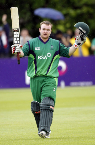 Paul Stirling celebrates his 94-ball ton, Ireland v Pakistan, 2nd ODI, Belfast, May 30, 2011