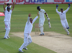 Graeme Swann removed Farveez Maharoof for a duck in the midst of Sri Lanka's collapse, England v Sri Lanka, 1st Test, Cardiff, 5th day, May 30, 2011