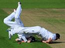 IIan Bell collides with substitute fielder Stewart Walters as they both attempt to take a catch, England v Sri Lanka, 1st Test, Cardiff, 5th day, May 30, 2011