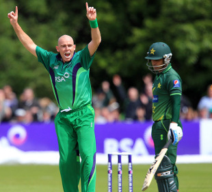 Mohammad Hafeez was dismissed in the second over of Pakistan's chase, Ireland v Pakistan, 2nd ODI, Belfast, May 30, 2011