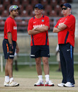 Suresh Raina with India coach Duncan Fletcher and fielding coach Trevor Penney, Queen's Park Oval, Port of Spain, June 2, 2011