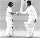 An unusual celebration ... Pat Pocock is congratulated by Allan Lamb on his first international run of the summer in his fifth innings, England v Sri Lanka, Lord's, August 27, 1984