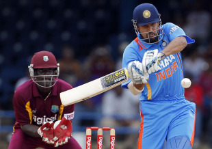 Yusuf Pathan slugs a big hit into the stands, West Indies v India, Only Twenty20, Port of Spain, June 4, 2011