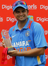 Suresh Raina poses with the winners' trophy, West Indies v India, Only Twenty20, Port of Spain, June 4, 2011