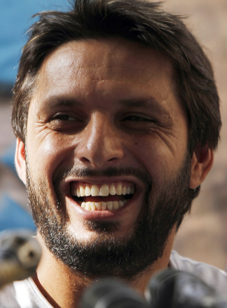 Handsome shahid afridi laughing