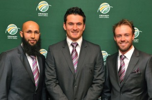 South Africa's captains and vice-captains - Graeme Smith (Test captain), Ab de Villiers (ODI and T20 captain, Test vice-captain), and Hashim Amla (ODI and T20 vice captain), Johannesbug, June 6, 2011