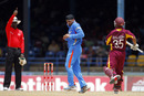 Peter Nero upholds Harbhajan Singh's lbw appeal against Carlton Baugh, West Indies v India, 1st ODI, Trinidad, June 6, 2011