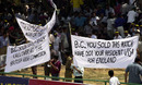 Sri Lankan supporters protest against BC Cooray's umpiring, Sri Lanka v England 2nd Test, Kandy, March 10, 2001
