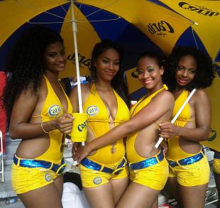 Cheerleaders in the Trini Posse stand