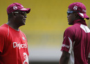 Desmond Haynes and Darren Bravo have a chat during training, West Indies v India, Antigua, June 10, 2011