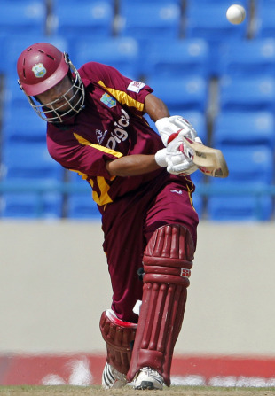 Ramnaresh Sarwan hits down the ground, West Indies v India, 3rd ODI, Antigua, June 11, 2011