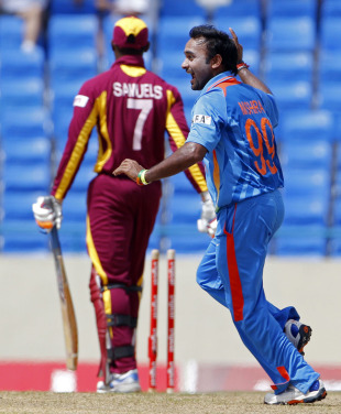 Amit Mishra is delighted after getting Marlon Samuels stumped, West Indies v India, 3rd ODI, Antigua, June 11, 2011