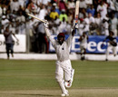 Brian Lara celebrates the victory after scoring an unbeaten 153, West Indies v Australia, 3rd Test, Barbados, 5th day, March 30, 1999
